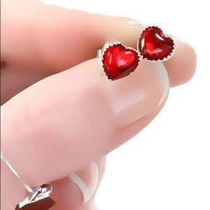 925 Sterling Silver Red RUBY Heart Stud Earrings